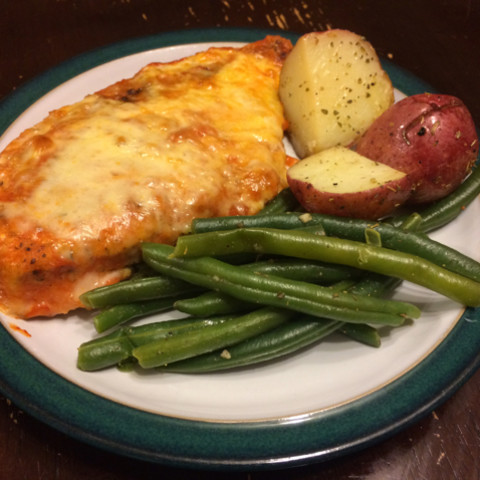 Pan Seared Chicken Parmesan With Mediterranean Green Beans