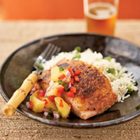 Pan-Seared Salmon with Pineapple-Jalapeno Relish