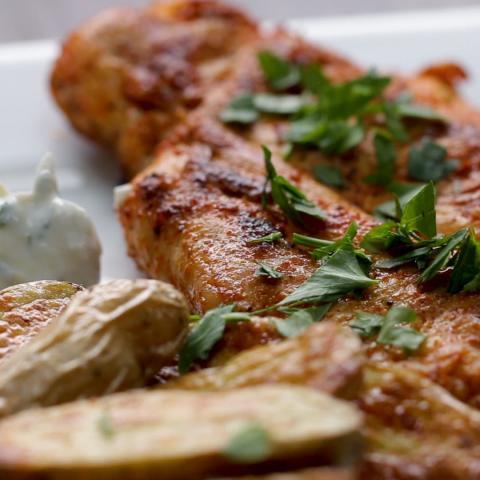 Paprika-Spiced Chicken With Lemon Yogurt And Crispy Potatoes Recipe by Tast