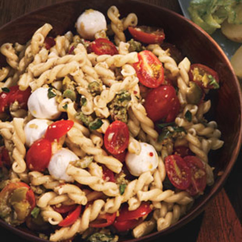 Pasta Salad with Cherry Tomatoes and Green Olivada
