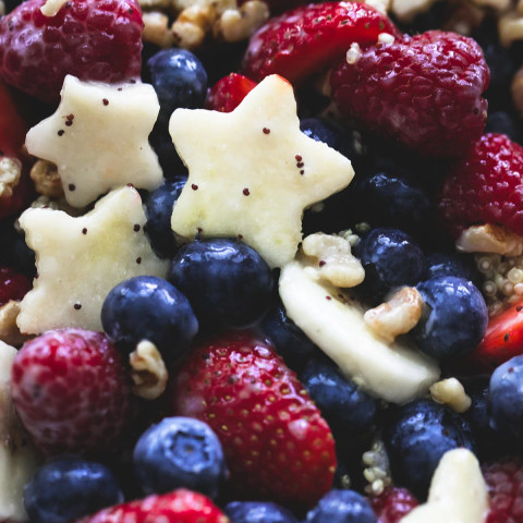 Patriotic Fruit Salad and Honey Lime Poppyseed Dressing