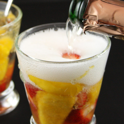 Peaches and Strawberries in Champagne