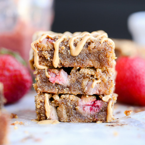 Peanut Butter and Jelly Blondies (Gluten Free + Refined Sugar Free)