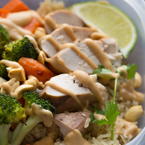 Peanut-Lime Chicken Lunch Bowls