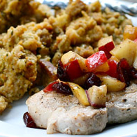 Pear and Apple Pork Chops with Stuffing