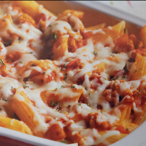 Penne with sausage and cheese