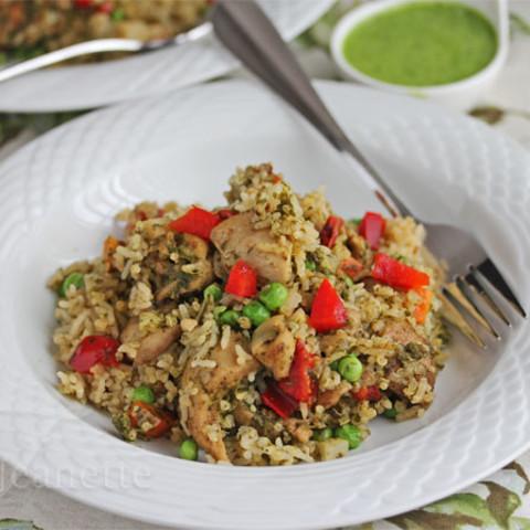 Peruvian Green Chicken with Rice & Quinoa (Arroz con Pollo Verde)