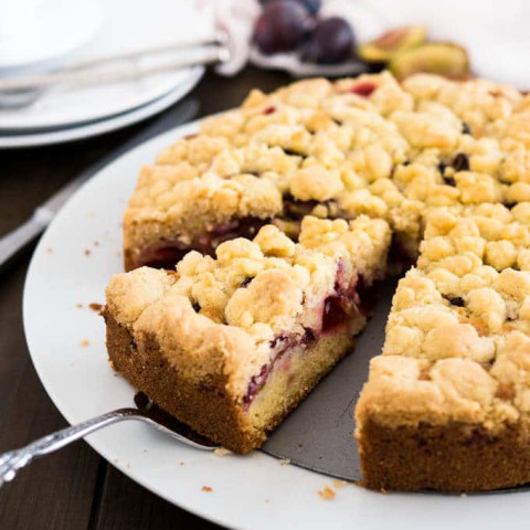 Plum Cake with Streusel (German Plum Crumble Cake)