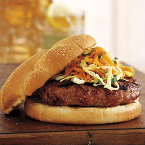 Pork Burgers with Apple Tarragon Slaw