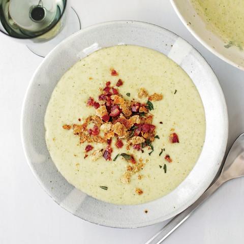 Potato, Leek and Broccoli Soup with Pancetta Crumbs