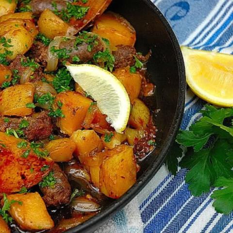 Potato with Boerewors (patatas Bravas Tapas)