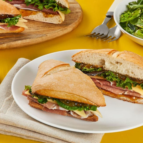 Prosciutto, Fig, and Gouda Sandwiches with Balsamic Mixed Greens (serves 2)