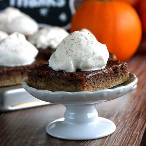 Pumpkin Pie Bars with Bourbon Whipped Cream