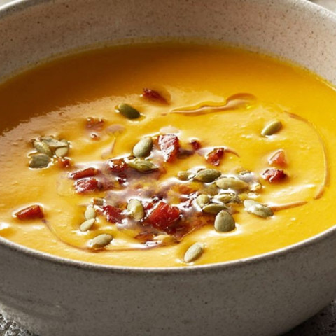 Pumpkin soup with chorizo and cannellini beans