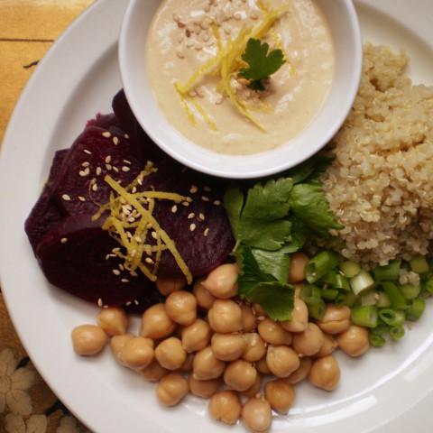 Quinoa Beet Salad with Miso-Tahini Dressing