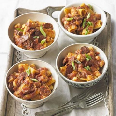 Rigatoni with spiced prawns, tomatoes and chorizo