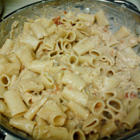 Rigatoni with Spicy Tomato And Cheese Sauce