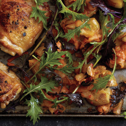 Roast Chicken and Kimchi Smashed Potatoes