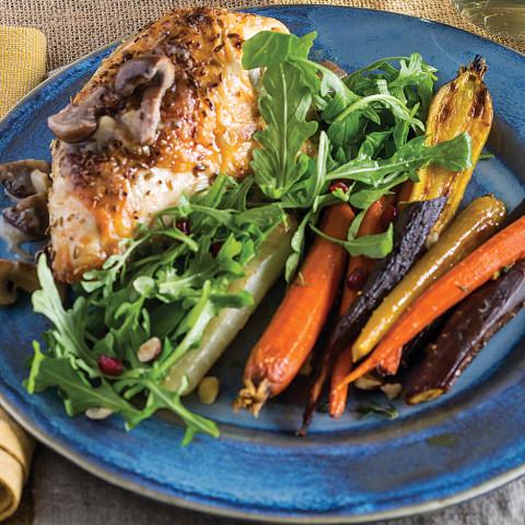 Roast Chicken with Mushrooms and Rainbow Carrots