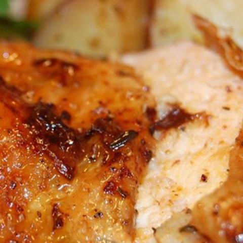 Roast Sticky Chicken Rotisserie Style
