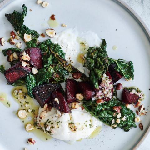 Roasted and Marinated Beets with Burrata, Charred Kale, and Hazelnut Vinaig