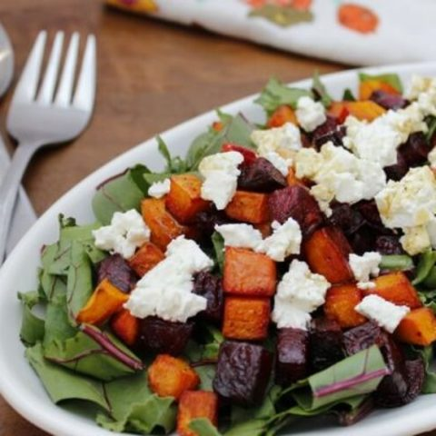 Roasted Beet and Butternut Squash Beet Green Salad