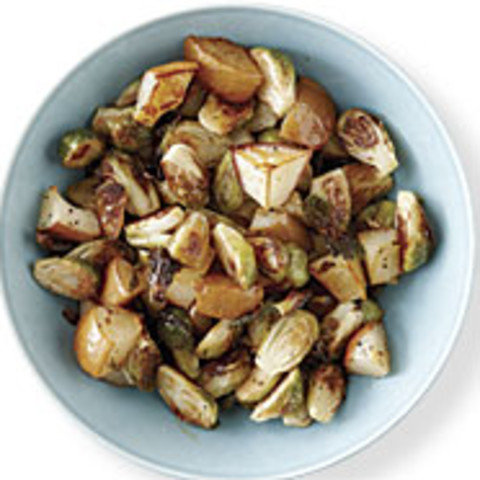 Roasted Brussels Sprouts and Pears