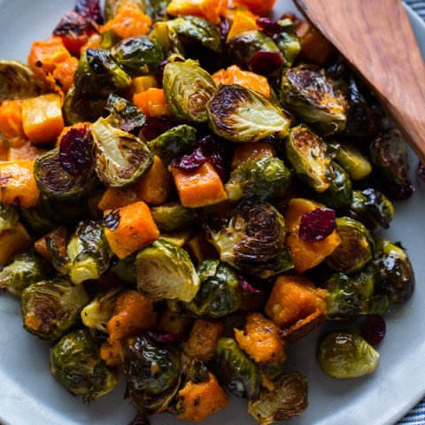 Roasted Brussels Sprouts and Squash with Dried Cranberries and Dijon Vinaig