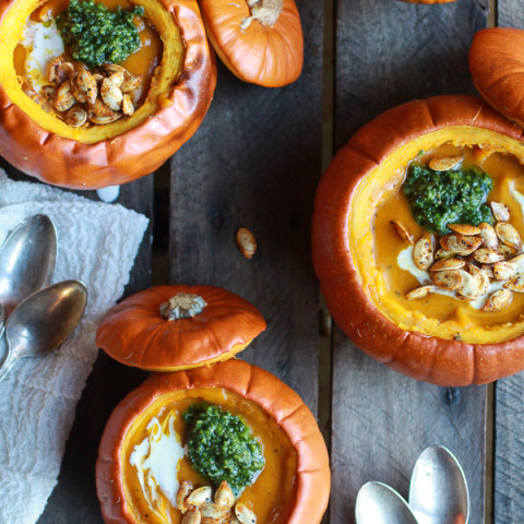 Roasted Garlic Sage Pesto Pumpkin Soup with Spicy Fried Pumpkin Seeds