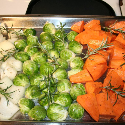 Roasted harvest vegetables with Dijon Mustard Sauce