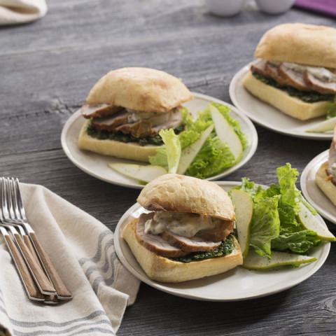 Roasted Pork Sandwicheswith Kale Pesto and Caper Mayonnaise