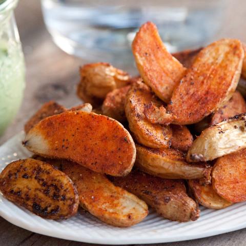 Roasted Potato Fries with Avocado Aioli