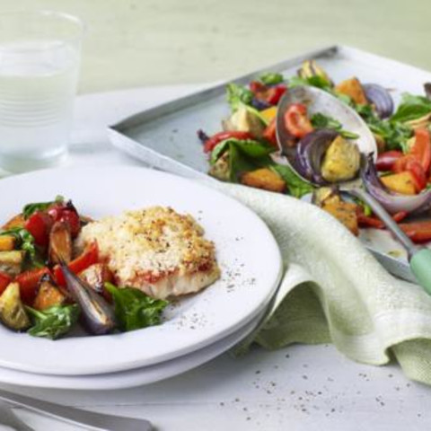 Roasted tomato cod with Mediterranean vegetables