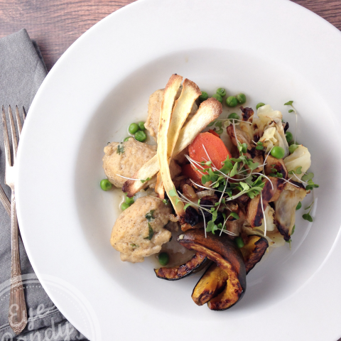 Roasted winter vegetables, caramelized onion and cranberries, and herbed ch