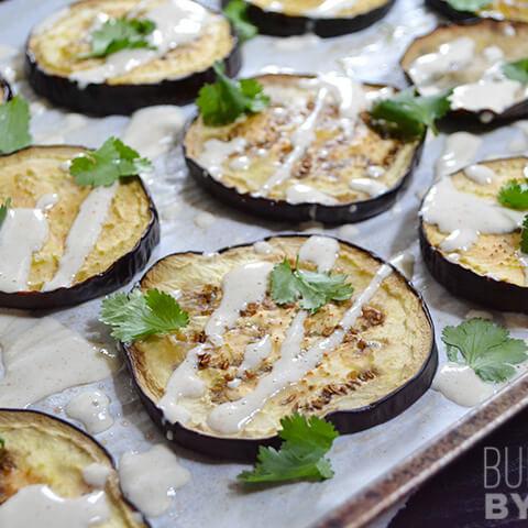 Roasted Eggplant with Lemon Tahini Dressing