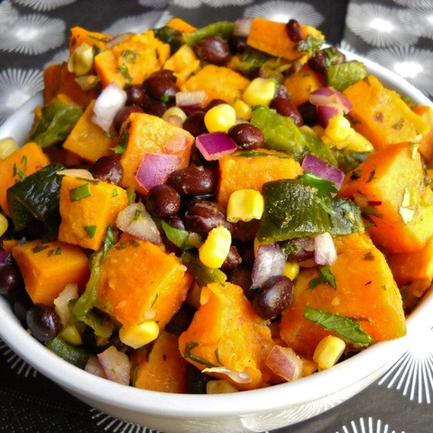 Roasted Poblano and Sweet Potato Salad