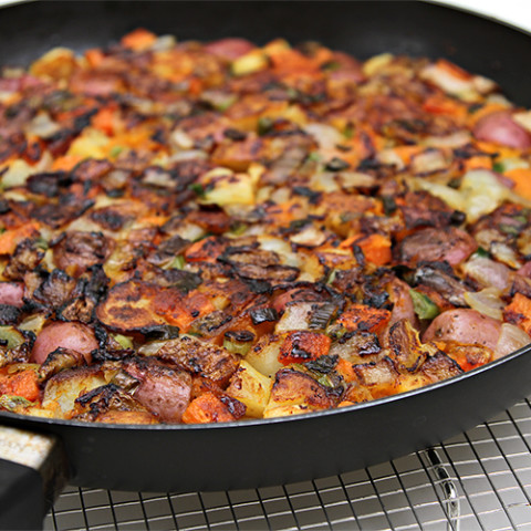 Root vegetable hash browns with scallions