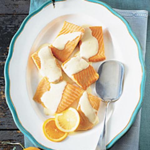 Salmon with Tangerine-Lemon Hollandaise Sauce