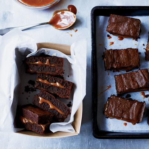 Salted Caramel-Filled Fudge Brownies