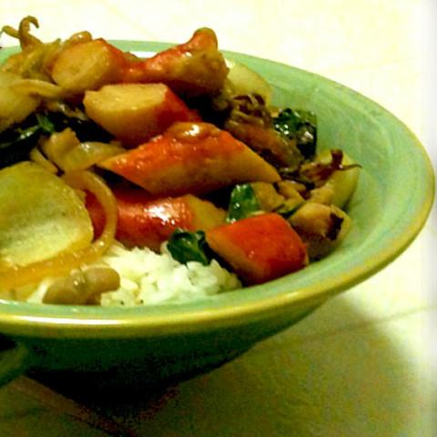 Seafood Kaprow (Thai Seafood Stirfry with Basil)