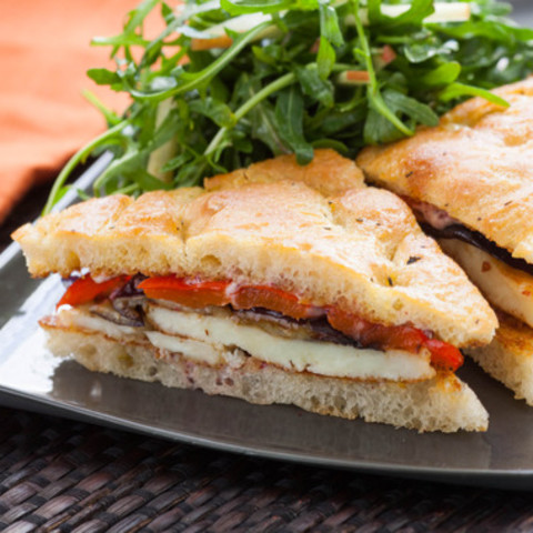 Seared Halloumi Sandwiches on Focacciawith Roasted Vegetables and Fuji Appl
