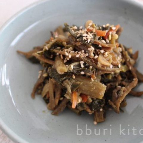 Shiraegi Namul / Braised Dried Radish Greens with Dried Anchovies