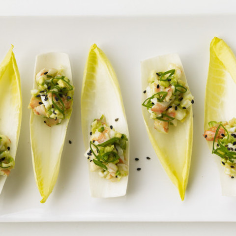 Shrimp and Avocado Salad on Endive Leaves