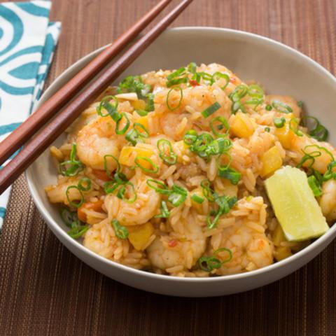 Shrimp and Pineapple Fried Ricewith Toasted Cashews and Sambal Oelek