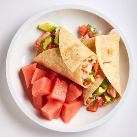 Shrimp, Avocado and Feta Wrap