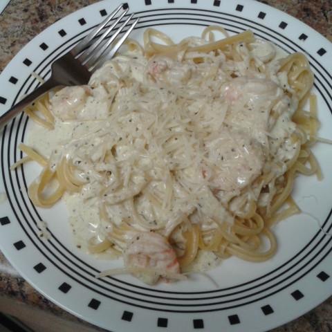 Shrimp Pesto with Linguini