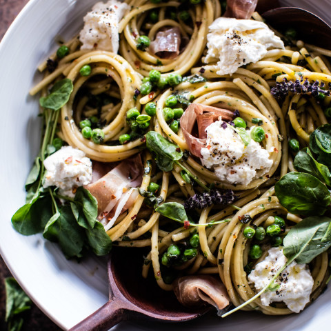 Simple Buttery Spring Pea Pasta with Prosciutto