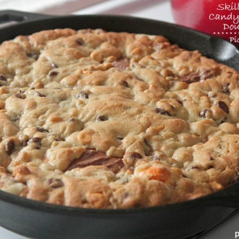 Skillet Baked Candy Bar Stuffed Double Cookie