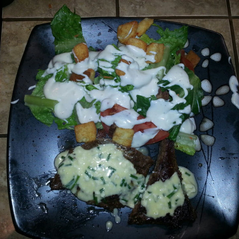 Skirt Steaks laced with Blue Cheese Butter