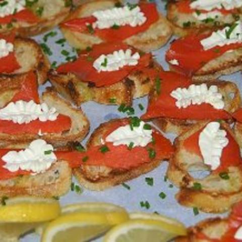 Smoked Salmon and Lemon-Cream Cheese on Crostini